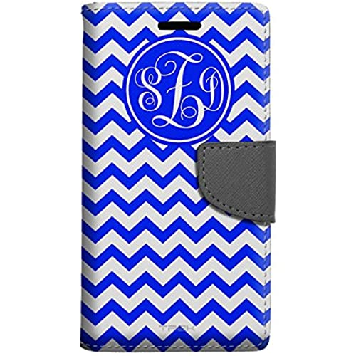Monogram Samsung Galaxy S7 Wallet Case - Chevron Zig Zag Blue & White Sales