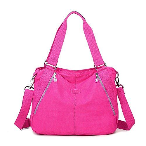 ZUNIYAMAMA - Bolso de asas de Lona para mujer One Size rosa rojo