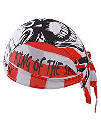 GERINLY Motorcycle Bandanas - Sports Head Wraps Hat, Red Skulls Doo Rag Sweatband