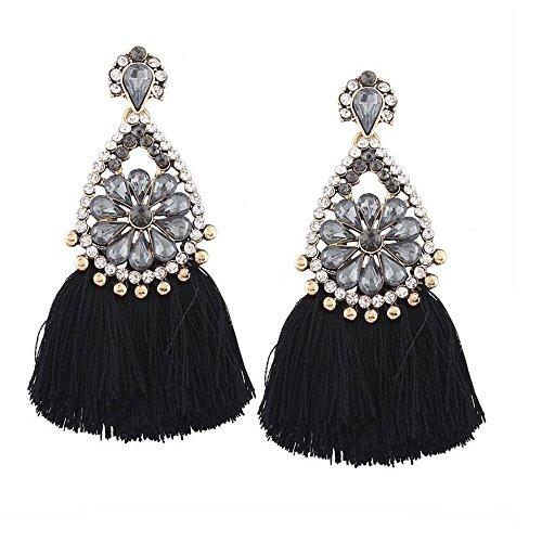 Handmade Ethnic Bohemian Tassel Earrings Rhinestone Dangle Earrings Black Long Tassel Earrings For Women