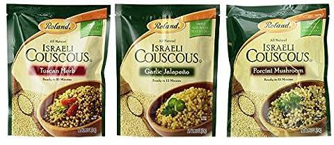 Roland Israeli Couscous 3 Flavor Variety Bundle, (1) Each: Tuscan Herb, Garlic Jalapeno, and Porcini Mushroom, 6.3 (Roland Garlic)