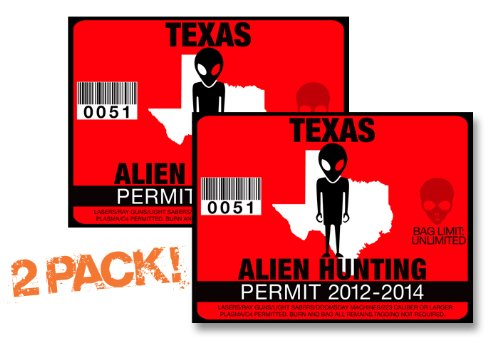 Texas-ALIEN HUNTING PERMIT LICENSE TAG DECAL TRUCK POLARIS RZR JEEP WRANGLER STICKER 2-PACK!-TX