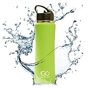 GO Bottles Stainless Steel Insulated Water Bottle with Flip Straw and Sweat Proof Rubber Grip H2O Sports Drinking is BPA Free/Portable/Durable/Good for Kids, Keeps Ice over 20 Hours, 24 oz.