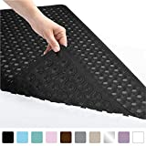 Gorilla Grip Original Patented Bath, Shower, Tub Mat (35x16) Washable, Antibacterial, BPA, Latex, Phthalate Free, Bathtub Mats with Drain Holes, Suction Cups, XL Size Bathroom Mats (Black Opaque)