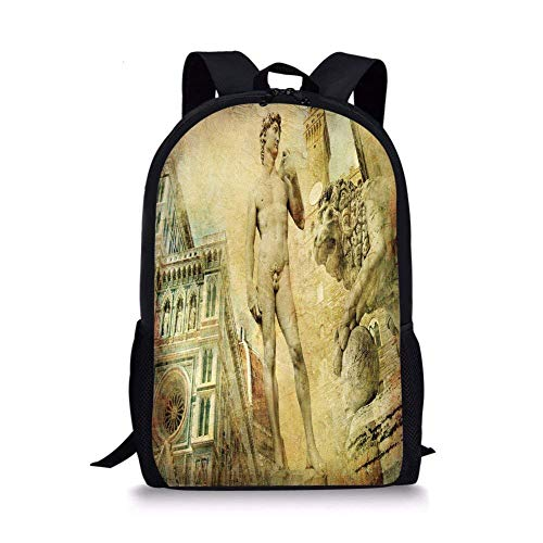- ZOZGETU backpack School Bags Italy,Ancient Florence Art Collage Michelangelo David Renaissance Decorative,Pale Yellow Pale Orange Mint Green for Boys&Girls Mens Sport Daypack