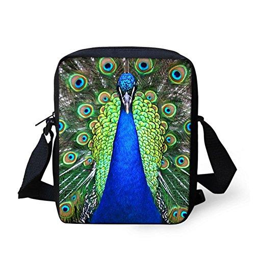 Peacock Fabric Handbags - HUGS IDEA Peacock Printed Women's Mini Cross Body Bags Shoulder Handbag Cell phone Pouch Purse for Travel