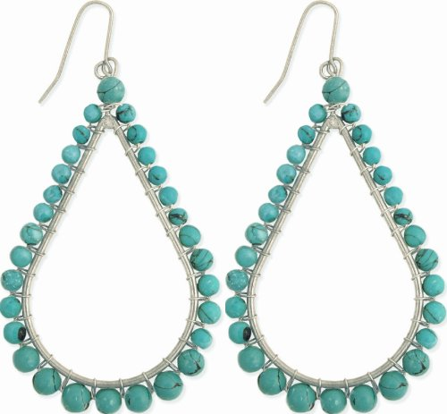Teardrop Beaded Earrings - Zad Women's Turquoise Beaded Silver-Tone Teardrop Dangle Earrings