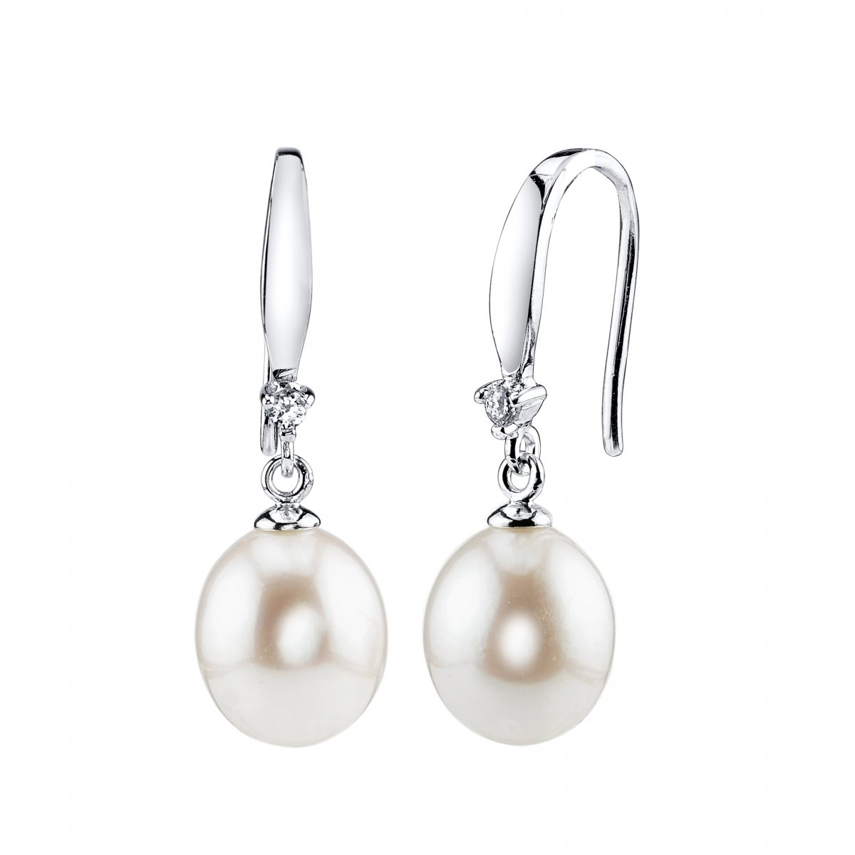 9-10mm Genuine White Freshwater Cultured Pearl & Cubic Zirconia Ally Earrings for Women