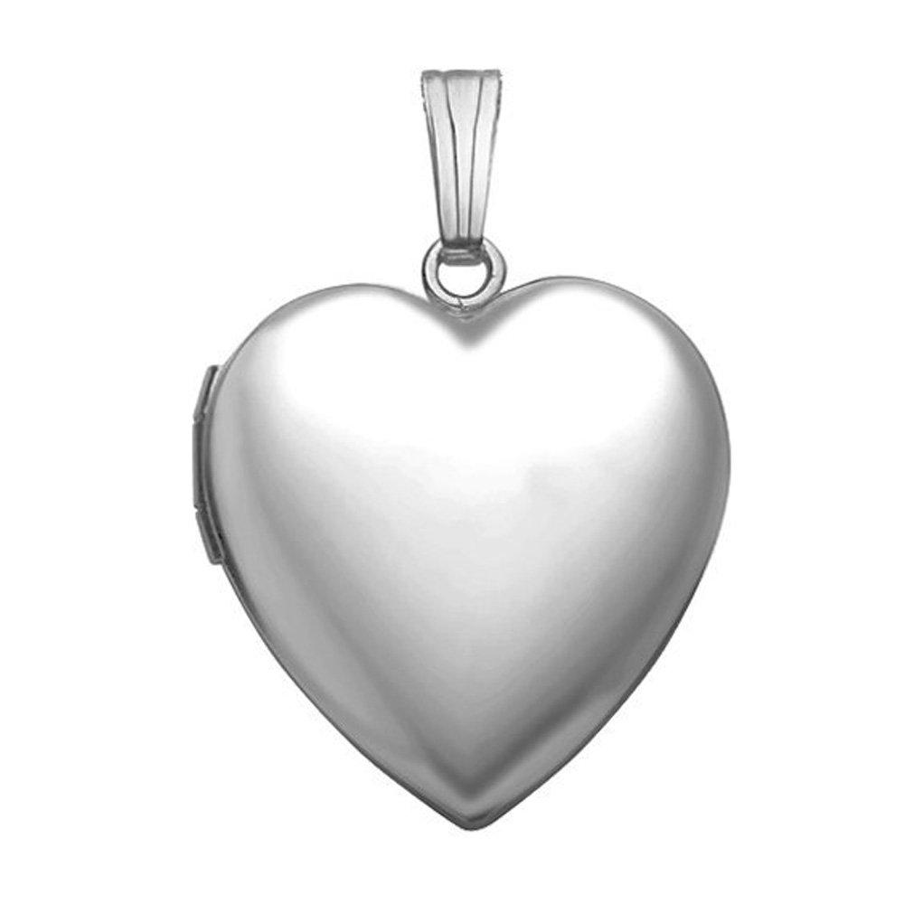 14K White Gold Heart Locket - 1/2 Inch X 1/2 Inch Solid 14K White Gold