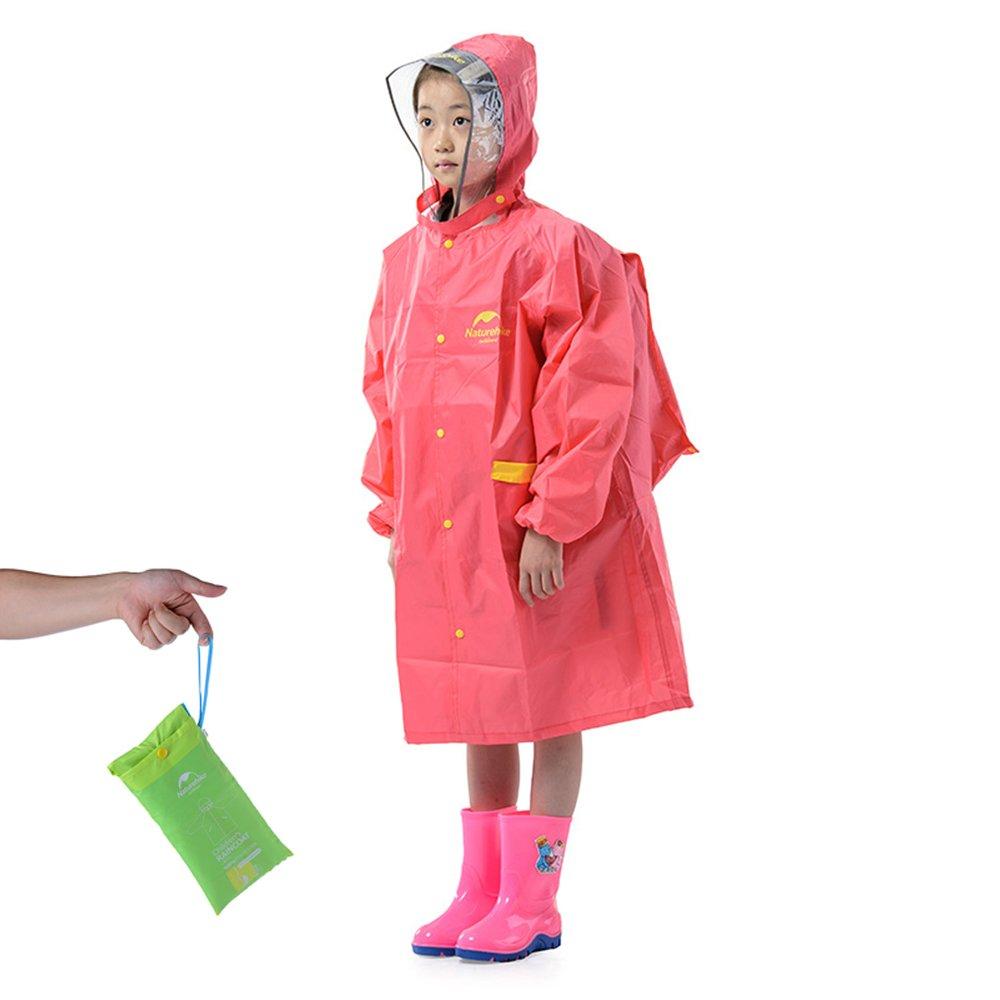 Tentock Ourdoor Portable Children's Raincoat with Hoods & Sleeves & Pocket School Rain Coat Reflective Strip Poncho (L, Pink)