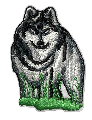 YELLOWSTONE GREY WOLF Patch Nature Outdoor National Park Series Theme Embroidered Sew/Iron on Badge DIY -