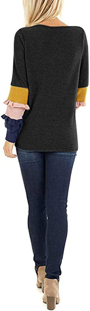 Blouse for Women Casual Ladies Stylish Fall Winter Shirts Round Neck Long Sleeve Color Block Spliced Tops T-Shirt Tunic