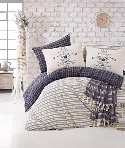 - Bekata Monaco, Perfect Design Nautical Bedding Set,%100 Cotton Quilt/Duvet Cover Set and Turkish Peshtemal Towel, Stripped, Navy Blue White, 6 PCS (Full/Queen Size) (Queen)