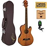Oscar Schmidt OU55CE Acoustic/Electric Baritone Ukulele, All Koa, Grover Tuners,w/Hard Case, Tuner, Strings & PC