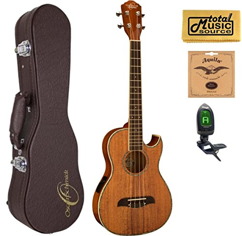 Oscar Schmidt OU55CE Acoustic/Electric Baritone Ukulele, All Koa, Grover Tuners,w/Hard Case, Tuner, Strings & PC by Oscar Schmidt