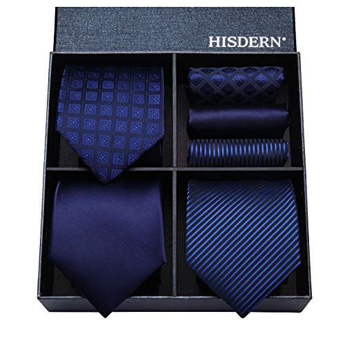 (HISDERN Lot 3 PCS Classic Men's Tie Set Necktie & Pocket Square Elegant Neck Ties Collection)