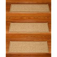 """Soho Sisal Carpet Stair Treads, 100% Sisal, Sage Serged Cotton Border, 9"""" x 29"""" (Set of 8)"""