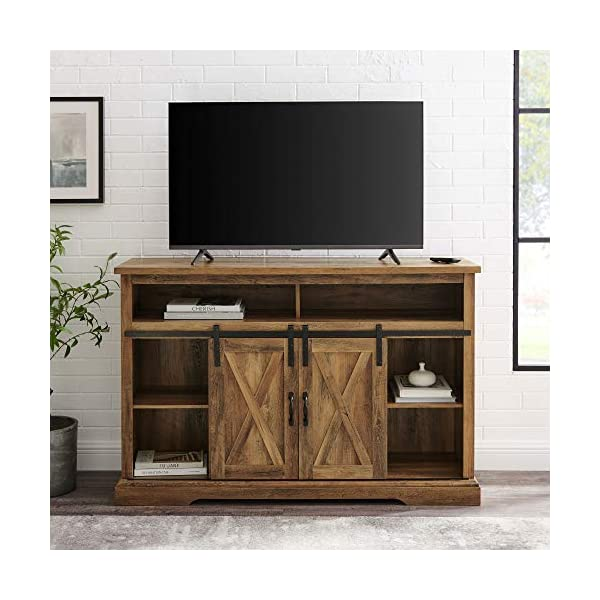 Walker Edison Clayton Farmhouse Sliding Double Barn Door Stand for TVs up to 58 Inches, Without Fireplace, Rustic Oak