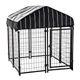 Lucky Dog Heavy Duty Dog Cage Outdoor Pet Playpen – This Pet Cage is Perfect for Containing Small Dogs and Animals. Included is a Roof and Water-Resistant Cover (4'W x 4'L x 4.4'H)