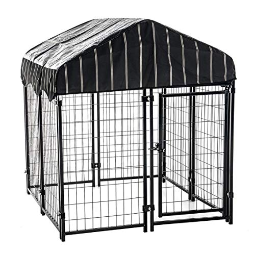 "Lucky Dog 4'6""H x 4'L x 4'W Heavy Duty Covered Welded Wire Dog Fence Pet Kennel"
