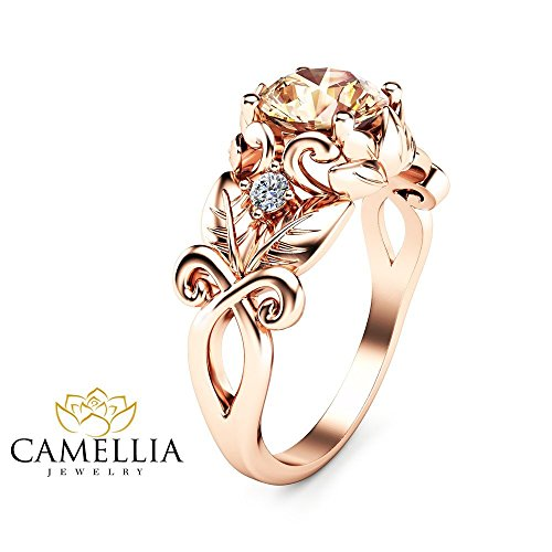 14K Rose Gold Morganite Ring Leaf Engagement Ring Inspired by Nature Ring Unique Wedding Band