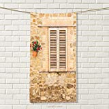 smallbeefly Tuscan Sports Towel Rustic Stone House and Window Shutters Flower Pot on Wall Italian Country Home Theme Absorbent Towel Beige Size: W 35.5'' x L 25''