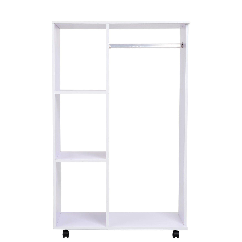 homcom 02-0604 Kleiderschrank, Holz, weiß, 80 x 40 x 128 cm ...