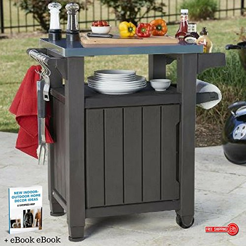 Mobile Cart Table, Preparation Unit & Serving Table For BBQ & Outdoor Entertainment Activities, Metal Top, Storage & BBQ Organizer, Large Storage Capacity & eBook Indoor-Outdoor Home Décor by kr