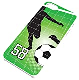Soccer Ball And Player Silhouette White Plastic Cell Phone Case Fits iPhone 5c Player Jersey Number 58