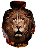 Hgvoetty Unisex 3D Animal Sweatshirts Fashion Lion Hoodies for Juniors M