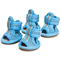 Prettysell Lovley Pets Tendon Soles Pet Tendon End Mesh Sandals Small Dog Cat Pet Shoes in 1 Set