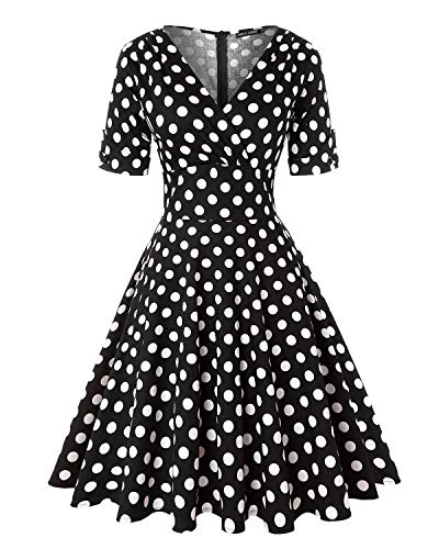 Women's Retro Deep-V Neck Half Sleeve Vintage Cocktail Swing Dress Party Dress (Polka dots Black,Size XL)