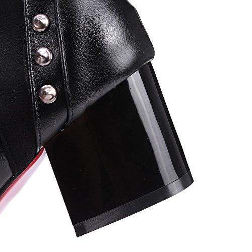 1TO9 Ladies Chunky Heels Winkle Pinker Rivet Imitated Leather Boots Black pwCsXrQFu