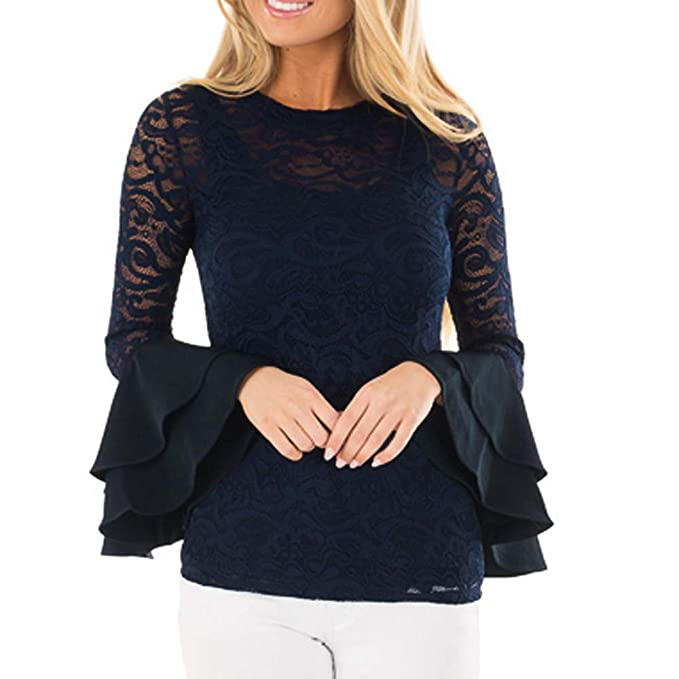 Big Teresamoon Fashion Womens O-Neck Lace T-Shirt Long Sleeve Flare Sleeve Solid Tops Blouse at Amazon Womens Clothing store: