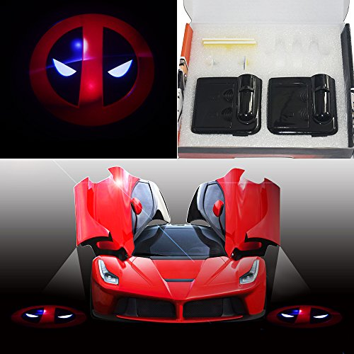 Spoya Red Deadpool face Wireless Magnetic Car door step LED welcome logo shadow ghost light laser projection projector light by Spoya