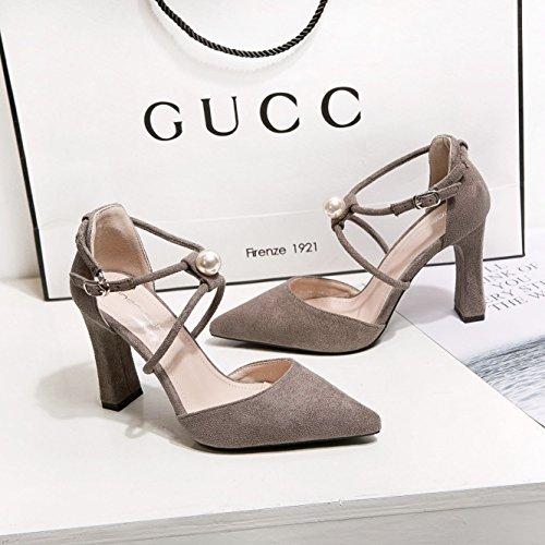 ugello sandali punta luce Dark Alla scarpe alti alto con singoli ragazza della i asolato tacchi luce con perla minimalista tacco grey satinata donne scarpe decorate spessore ZHZNVX Oq7Iwq