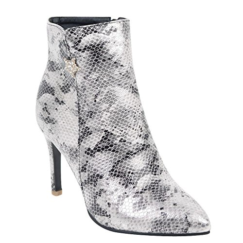 Dress Women's Pointed Toe Printings Style New High Boots Silver Heel Carolbar Stiletto 16xzwq6