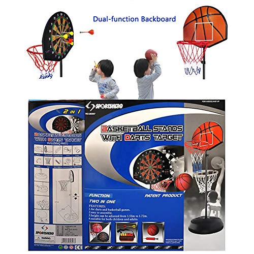 Portable Mini Basketball Hoop System Stand, Adjustable Toy Set for Toddler Kids, Indoor Outdoor Dual-use Backboard Net Goal by Basketball Stand (Image #3)