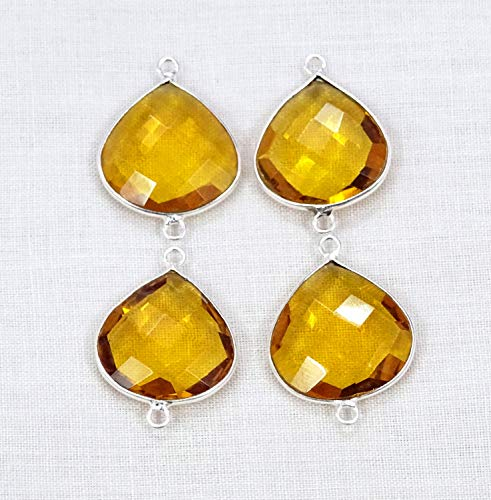 (Devgemsandjewels 4pcs Honey Citrine Quartz Heart Shape Hydro Glass 16 mm 925 Silver Plated Double Bail Gemstone Connector.)
