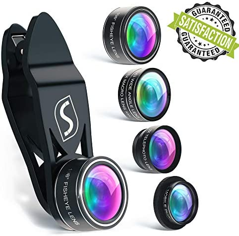 5 in 1 Phone Camera Lens Kit – Optical Glass Attachment Set – 2X Zoom Telephoto, 198 Fisheye, 0.63X Wide Angle, 15X Macro, CPL Filter with Universal Clip Adapter for Cell Phones and Tablets (Black) 51FTGUtIlLL