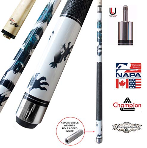 Champion Dragon Pool Cue Stick, Predator Uniloc Joint, 314 Taper Shaft, 12.75 mm. Tip, Pure Shaft Technology, Retail Price: MSRP $290 (Tiger Tip, Black Case, 19 oz) ()
