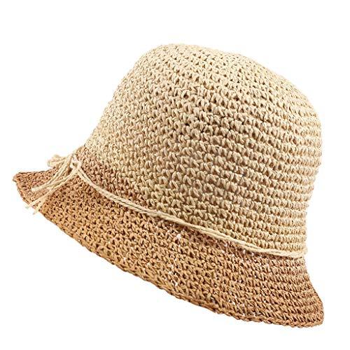 Outique Women Sun Hats UV Protection Hat for Women Beach Straw Hats Big Brim Foldable Hat Retro Sun Hat Khaki