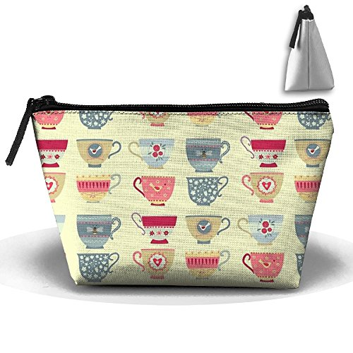 Bronze Teacup (Tea Cups Classic Cosmetic Bag Portable Travel Bag Reusable Cosmetic Bag Large Capacity Pencil Bag Zipper Storage Bag)
