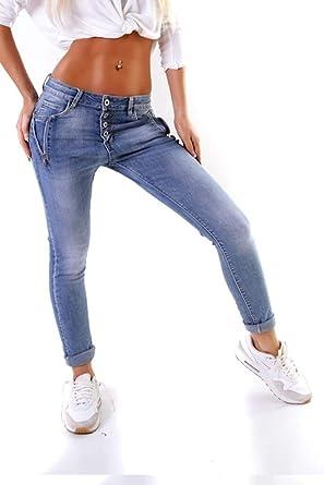 f4684f13284bd5 OSAB-Fashion 11265 LEXXURY Damen Jeans Röhrenjeans Hose Stretch-Denim  Damenjeans Boyfriend Knopfleiste