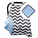 5 Colors **Summer Sale!** Car Seat Canopy by CRAZZIE with Matching Soft TAGZ Blanket (Grey Zigzag Blue Minky with TAGZ Blanket)