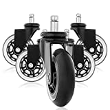 TOOGOO Replacement Wheels, Office Chair Caster Wheels for Your Desk Chair, Quiet Rolling Casters Perfect for Hardwood Floors, Carpet, Laminate and Tile - t of 5