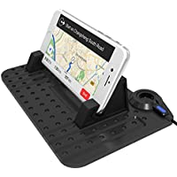 Exxact New Silicone Pad Dash Mat Cell Phone Car Mount Holder Cradle Dock With 2 in 1 Charging Cable For Phone GPS(With a free whistle)