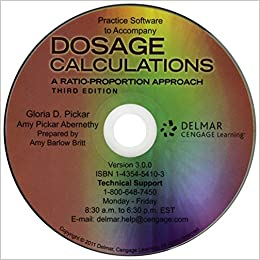 Dosage calculations a ratio proportion approach 3rd edition pickar.