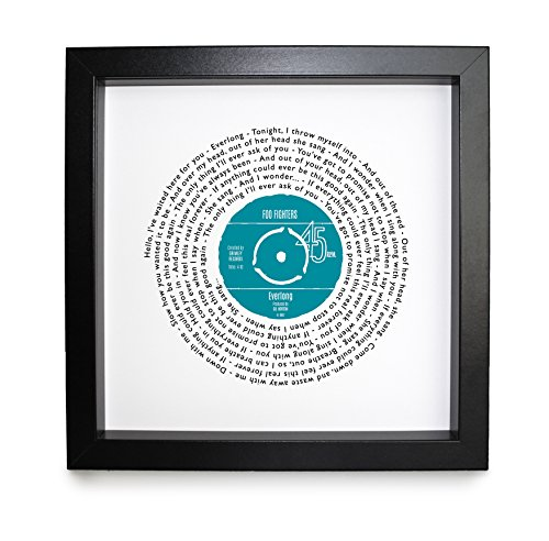 Any Song Lyrics Personalised Print - Looks just like a Vinyl Record ! Poster of First Dance or Anniversary Song - fully framed BLACK box 9.5 inch frame ()