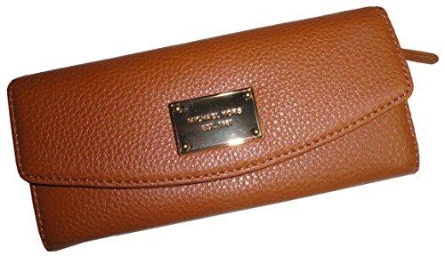 Michael Kors Fulton Slim Flap Brown Pebbled Leather Wallet